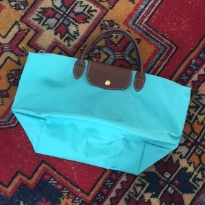Teal medium Le Pliage type M Longchamp